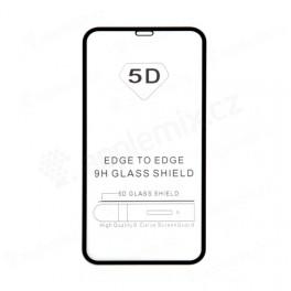 """Tvrzené sklo (Tempered Glass) """"5D"""" pro Apple iPhone Xr / 11 - černý rámeček - čiré"""
