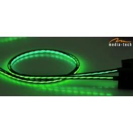 FLOWING LED USB CABLE MediaTech MT5105B - kabel signalizující stupeň nabití ,modrý